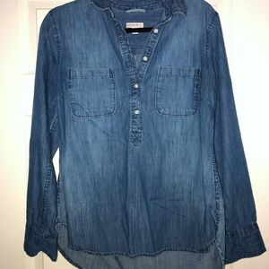 Merona half button up jean shirt